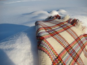 A white shawl on the snow.