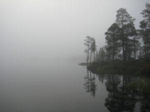 Misty lake Inari.